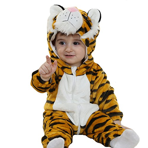 Tonwhar Unisex-Baby Animal Onesie Costume Cartoon Outfit Homewear (120:Ages 30-36 Months, Tiger) -