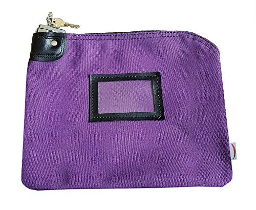 Locking Money Bank Bags with Keys (Small) Deposit Cash, Coins, Bills, Change | Lockable Security, Keyed Entry | Heavy-Duty Canvas | Professional Business Banking (Purple)