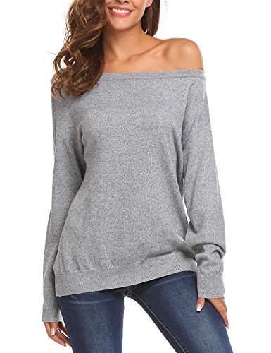 SoTeer Womens Crew Neck Solid Long Sleeves Loose Knit Off Shoulder Sweaters Pullover Grey L