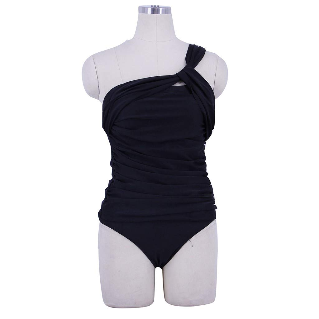 Women Two Piece Bikini,Ruched One Shoulder Tummy Control Fashioned Top with Cheeky Low Waist Bottoms Swimsuits