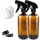 16oz Empty Amber Boston Spray Bottles (2 Pack) - Refillable Container with Trigger Sprayers, Caps and labels, Glass Bottle for Essential Oils, Cleaning, Room Spritzers or Aromatherapy by THETIS Homes