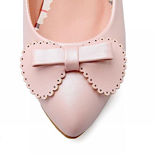 Mee Shoes Damen süß Schleife Borte Keilabsatz Pumps Pink