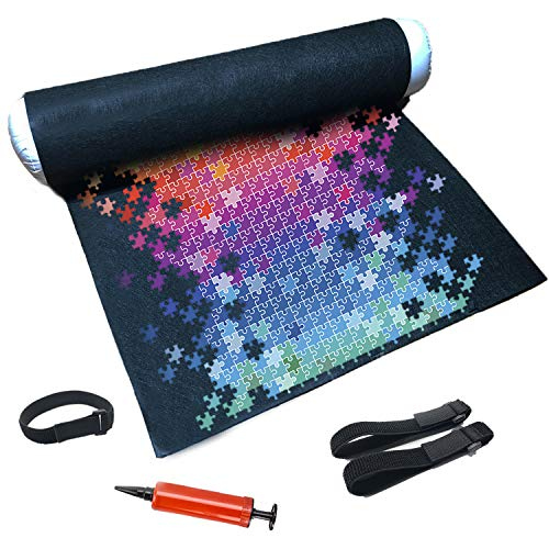 Tunery Puzzle Roll Up Mat - Puzzle Storage and Jigsaw Puzzle Mat Roll Up to 1500 Pieces, Inflatable Tube, and 3 Elastic Fasteners, Mini Pump, 46