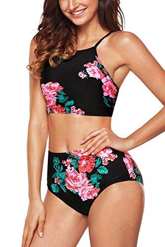 EasyMy Womens Retro Classic Crop Top Bikini Two Piece Swimsuit Banded Swimwear,Red,2XL