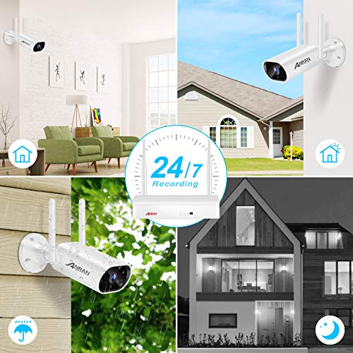 【2K,Expandable 8CH and Audio Recording】 Wireless Security Camera System,1TB Hard Drive,One-Way Audio,ANRAN 8Channel NVR 4Pcs 3MP Security Cameras Outdoor,IP66 Waterproof,Night Vision,Motion Alert