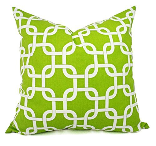 Green and White Pillow Shams - Pillow Covers - Green Pillow Cases - Decorative Pillow
