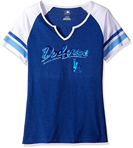 MLB Los Angeles Dodgers Women's The Replay Fashion Top, Large, Deep Royal Heather/White (Los Angeles Dodgers Fashion)