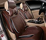 Amooca Compatible Universal Full Front Rear Ice Silk PU Fabric Car Seat Cushion Cover Fit For BMW Honda Toyota coffee 8pcs