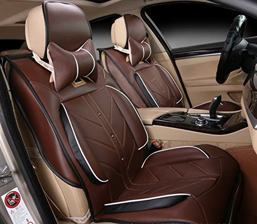 Amooca Compatible Universal Full Front Rear Ice Silk PU Fabric Car Seat Cushion Cover Fit for BMW Honda Toyota Coffee ()