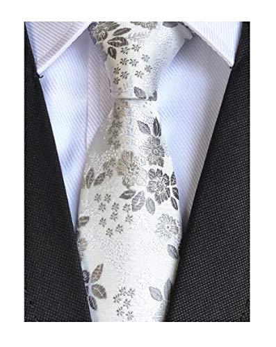 Mens White Silver Grey Floral Cravat Ties Woven Business Formal Necktie (White Woven Necktie)