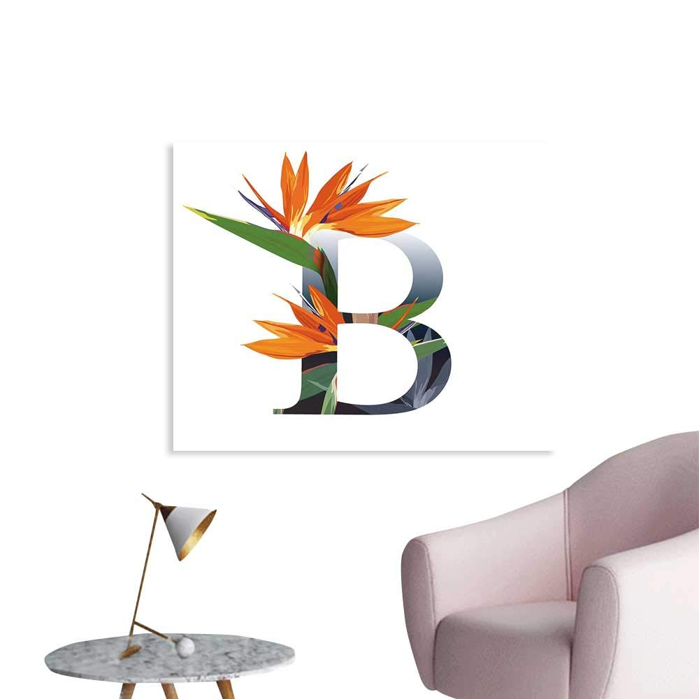 J Chief Sky Letter B Wall Decor Letter B with Bird of Paradise Flower Alphabet Character Font Design Print Wall Decals for Bedroom W24 xL20