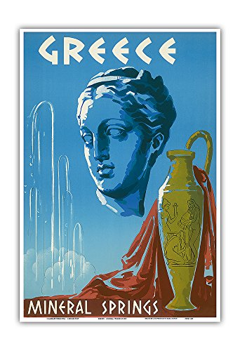 Pacifica Island Art Greece - Mineral Springs Spa - Classic Hellenic Greek Statue, Urn, Mineral Springs Spray - Vintage World Travel Poster c.1953 - Master Art Print - 13in x 19in