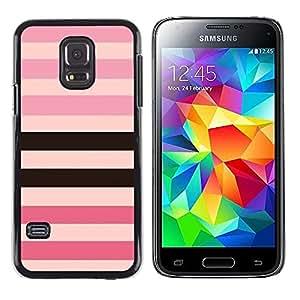 Patrón Línea Rosa Púrpura Negro Equals- Metal de aluminio y de plástico duro Caja del teléfono - Negro - Samsung Galaxy S5 Mini (Not S5), SM-G800