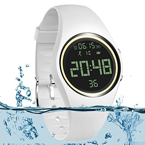 port Wristband IP68 Swimming Water-resistant Fitness Tracker with Accurately Track Steps/Distance/Calorie/Clock/Timer[No App No Phone need]for Walking Running Kid Men Women(White) ()