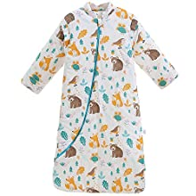 Dearup Sleepsack Blanket, 100% Cotton Long Sleeve Baby Wearable Blanket with Three-Way Zipper ,Soft Warm Winter Knitted Fabric Sleep Bag Sack Unisex for Newborns Age 12-24 Months ,Animal Paradise