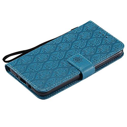 Copertura Magnetico Folio Foglie Cuoio Portafoglio In Modello Ooboom® Xiaomi Case Blu Custodia Flip Rosso 5 Supporto Per Plus Redmi Pu Wallet Pelle Cover wy6q0FS