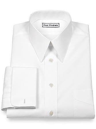 a06f53abe4 Paul Fredrick Men's Slim Fit Cotton Edge Stitch Straight Collar French Cuff