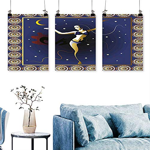 SCOCICI1588 3-Piece Triptych Belly Dancer in Mystic Featured Arabesque Pattern Moon Stars Art Print Navy Blue for Wall Decor Home Decoration No Frame 24 INCH X 47 INCH X 3PCS