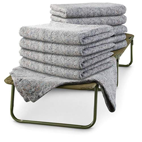 K-AXIS U.S. Military Surplus 10 Pack Wool Blankets, Survival Gear for Disasters & Emergencies, Perfect for Homeless Shelters, Outdoor Camping, Made in USA