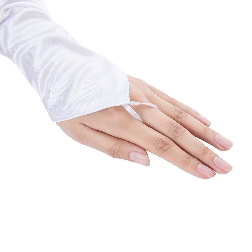 Ksnrang bianchi Damen Lange Raso Handschuhe Satin Classic Opera Fest Party Hochzeit Braut Handschuhe 1920er Stil Handschuhe Elastisch Erwachsene Gr/ö/ße bis Handgelenk L/änge