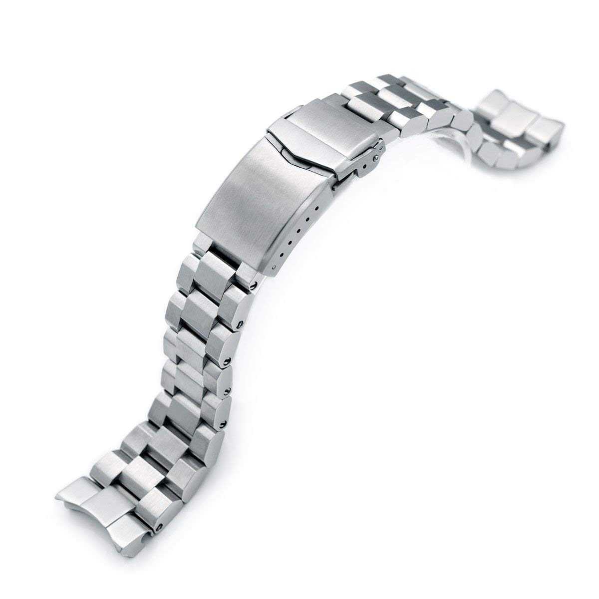 22mm Hexad Oyster 316L SS Watch Band for Seiko Samurai SRPB51, V-Clasp Button Double Lock