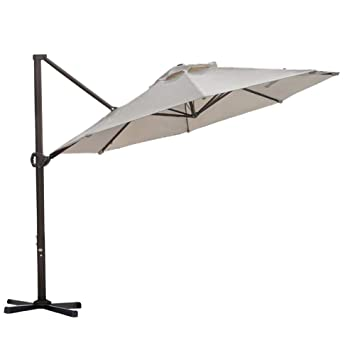 d1faa2879c25 Abba Patio 11 Ft Offset Patio Umbrella with Crank Lift and Tilt and Cross  Base, 11', Beige