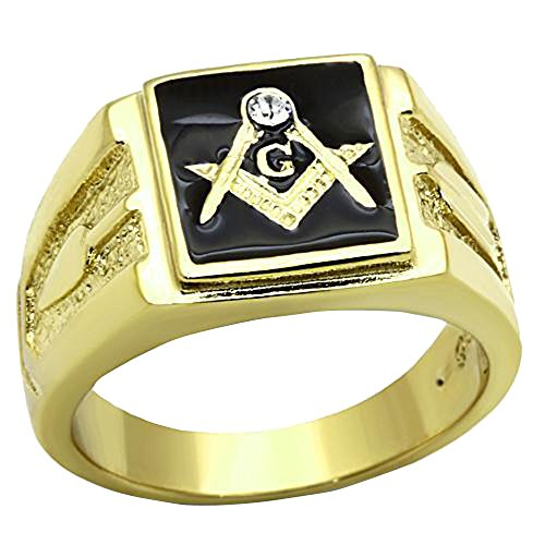 FlameReflection Men's Stainless Steel 14k Gold Plated Crystal Masonic Lodge Freemason Ring