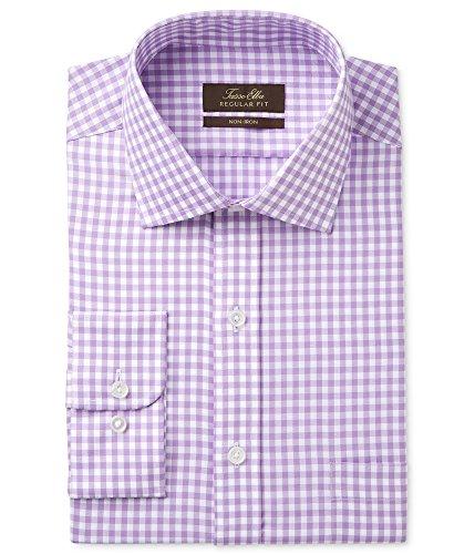 Tasso Elba Mens Non-Iron Herringbone Button Up Dress Shirt Purple 15 from Tasso Elba