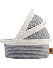 NaturalCozy 3-Piece Cotton Rope Baskets with Handles - 100% Natural Cotton! Oval Woven Storage Basket Set, Toy Basket, Small Soft Baby Nursery Baskets, Cat Dog Toy Baskets, Gift (Off White & Gray)