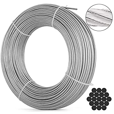 BestEquip 316 Stainless Steel Cable Stainless Steel Wire Rope 1x19 Steel Cable for Railing Decking DIY Balustrade