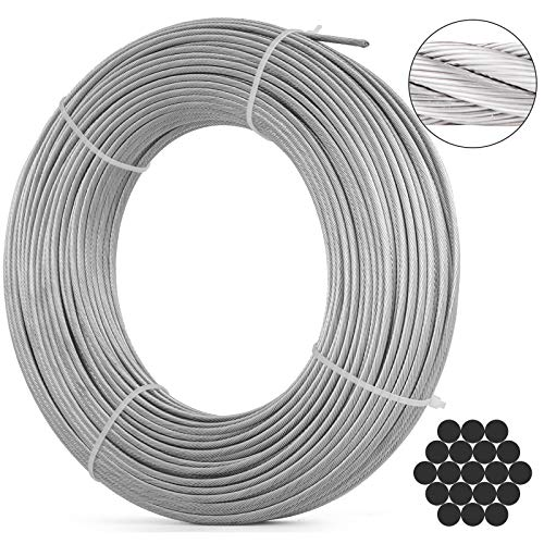 (VEVOR 316 Stainless Steel Cable 250ft Stainless Steel Wire Rope 1/8