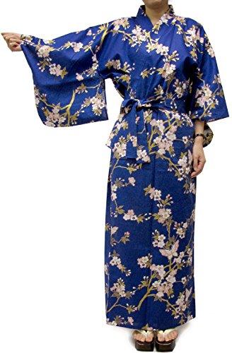 Kimono Japan Women's Easy Yukata Robe Blue Sakura and Butterfly Medium