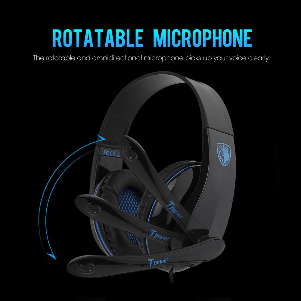 SADES Computer Gaming Headset TPOWER Stereo Headphones with Noise Isolating Microphone,Entry-Leve Over-Ear Earphones with 3.5mm Nickel-Plated Jack and Adjustable Headband for PC Mac Windows Gamers