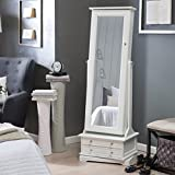 Swivel Cheval Jewelry Armoire in White