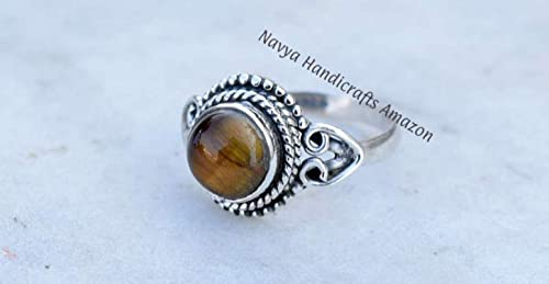 Silver Tiger Eye Ring  Tiger Eye Ring  Brown Tiger Eye  Gemstone Ring  Sterling silver Ring gemstone jewelry ring gift for her men gifts