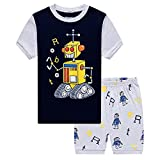 Kids Robot Pajama Shorts Pajamas for Boys Nightwear Set Summer Clothes Outfit 2T-7T