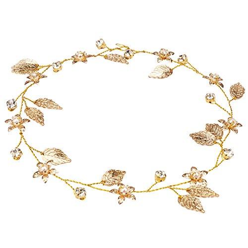 Kicosy Women Bridal Hiar Vine Wedding Pearl Rhinestones Headband Bridal Bridesmaid Flower and Leaves Crown Headband Tiara Headpieces Gold