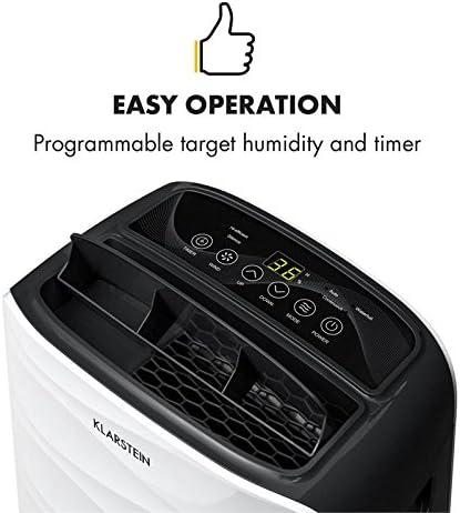 KLARSTEIN DryFy 16 - Déshumidificateur d'air, 16 L/24h, Puissance 255W, Réservoir d'eau de 2L, Pièces de 25-35 m² (jusqu'à 85 m³), Réglage Niveau d'humidité, Minuterie, 43 DB Seulement, Blanc