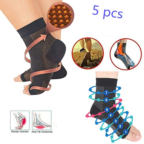 5 Pairs Vita-Wear Copper Infused Magnetic Foot Sleeve Support Compression Anti Fatigue,Recovery Foot Sleeves,Ankle Plantar Fasciitis Support Socks (Copper, S/M)