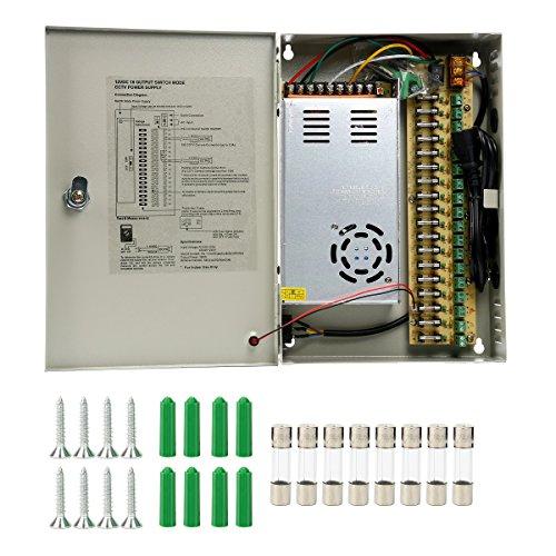 Yaetek CCTV 18 Output 30 Amp 12V DC CCTV Distributed Power Supply Box for Security Camera (12V 30A 360W (Outputs Cctv Power Supply)