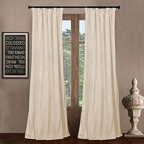 """84"""" W x 102"""" L (set of 2 Panels) Pinch Pleat 90% Beige Lining Blackout Velvet Solid Curtain Thermal Insulated Patio Door Curtain Panel Drape For Traverse Rod and Track, Ivory Curtain"""