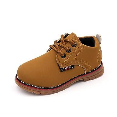 YanHoo Zapatos para niños Sneaker Boots Lace Up Kids Bebé Casual Shoes Niños niños y niñas británicos Botas Zapatos de tendón Mantener Caliente Zapatos de ...