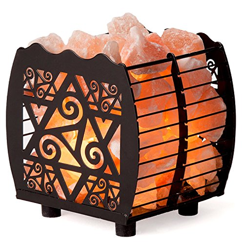 Crystal Decor Natural Himalayan Hybrid Wired Cube Basket Pink Salt Lamp in a Modern and Contemporary Design with Dimmable Cord - Star by CRYSTAL DECOR