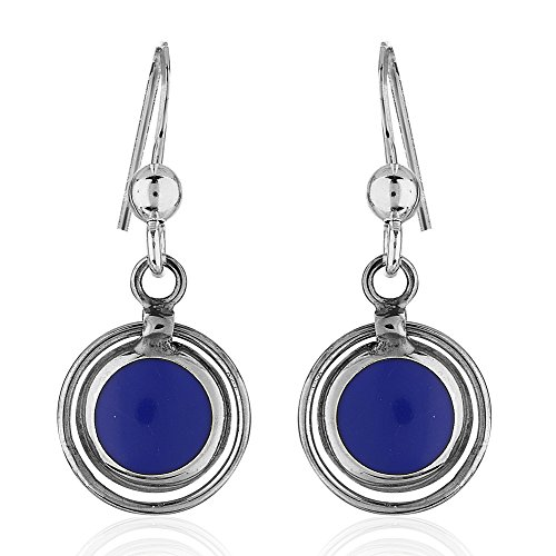 [925 Sterling Silver Double Rim Circle Blue Reconstructed Lapis Gemstone Dangle Earrings] (Colored Stone Costume Jewelry)