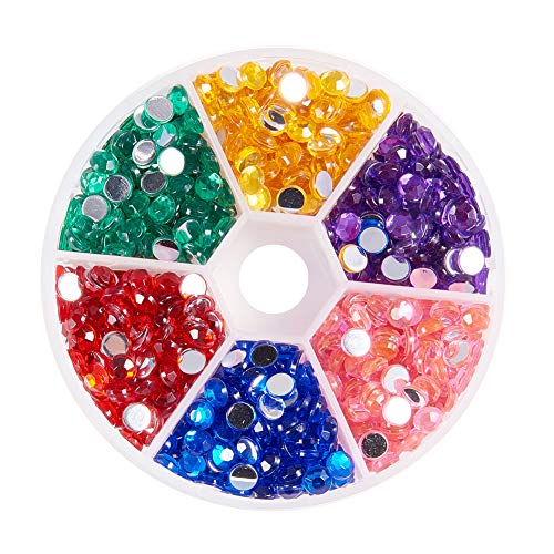 PandaHall About 960 Pieces 5mm Acrylic Crystal Nail Art Flatback Round Rhinestones Gemstone 6 Colors for Nails Phone Decorations Crafts Makeup Clothes Shoes