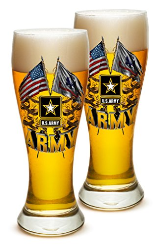 (Pilsner Armed Forces Gifts for Men or Women – Army Men American Soldier Beer Glassware – Double Flag US Army Barware Glasses - Sest of 4 (23)