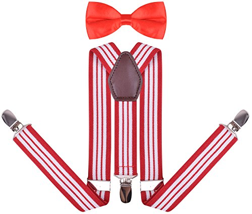 YJDS Boys' Leather Suspenders and Pre Tied Bowtie Red White Stripe 30 Inches ()