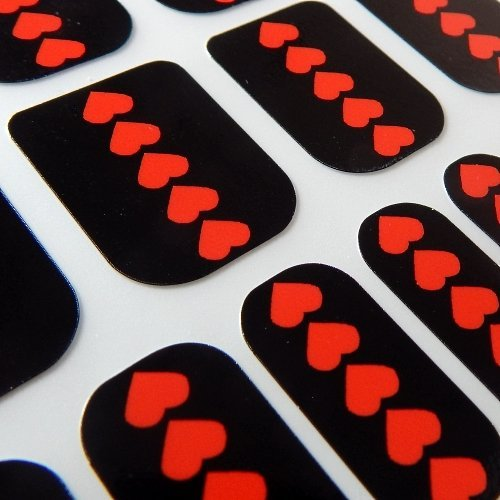 Chix Nails Occasional Valentine Minx Trendy Style Fingers Toes Vinyl Foils Nail Wraps, Black With Red Love Hearts Print Occ8