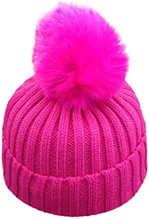 Kimanli Toddler Hat,Boy Girl Elastic hair ball knit hat Winter Warm Fur Ball Hat Baby Caps Apparel