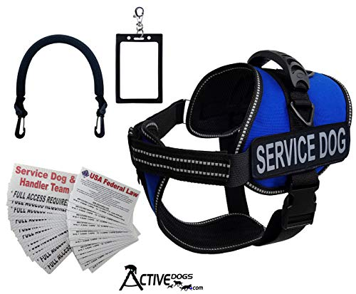 "Activedogs Service Dog Vest Harness + Free Clip-on Bridge Handle + Free Clip-on ID Carrier + Free ADA Cards + Free Reflective Service Dog Patches (S (Girth 19""-24""), Royal Blue)"